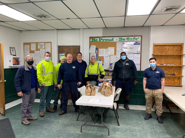 Baldwin Civic Association members teamed up with the Long Island Bagel Cafe to donate a breakfast spread to Sanitary District 2 workers last Thursday.