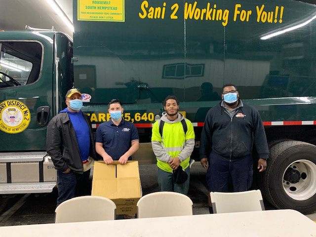The teams donated egg sandwiches, orange juice and coffee to sanitation workers.