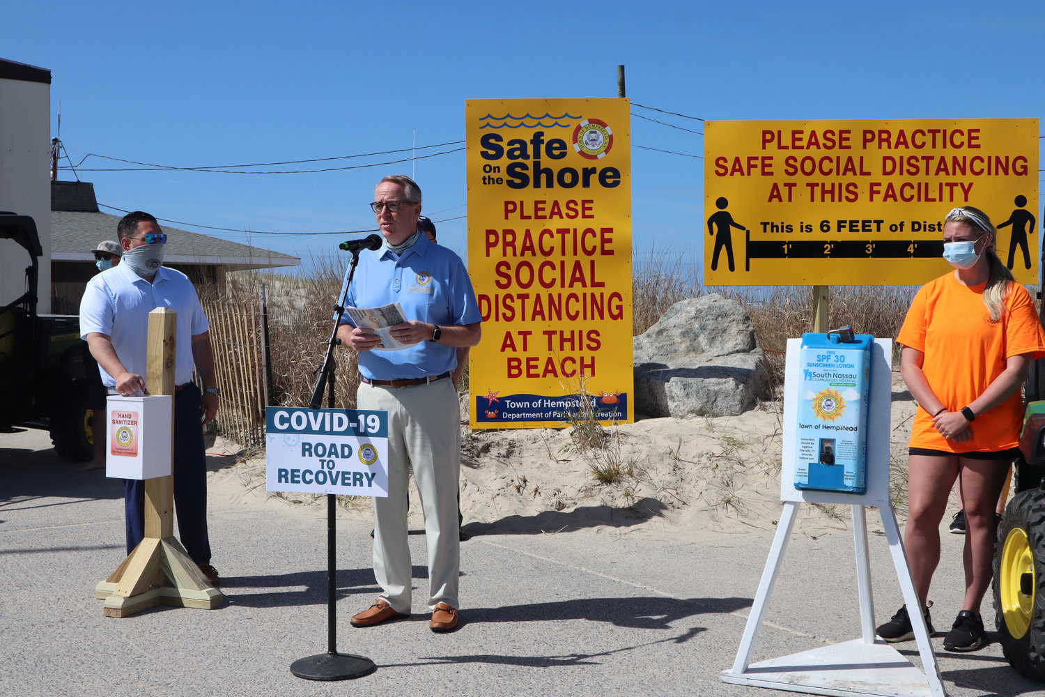 Town of Hempstead officials announced a support team to keep residents safe, while at town beaches.