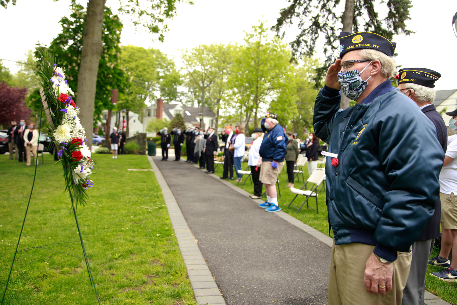Veterans lined up at Westwood Park in Malverne as part of the village's annual Memorial Day ceremony.