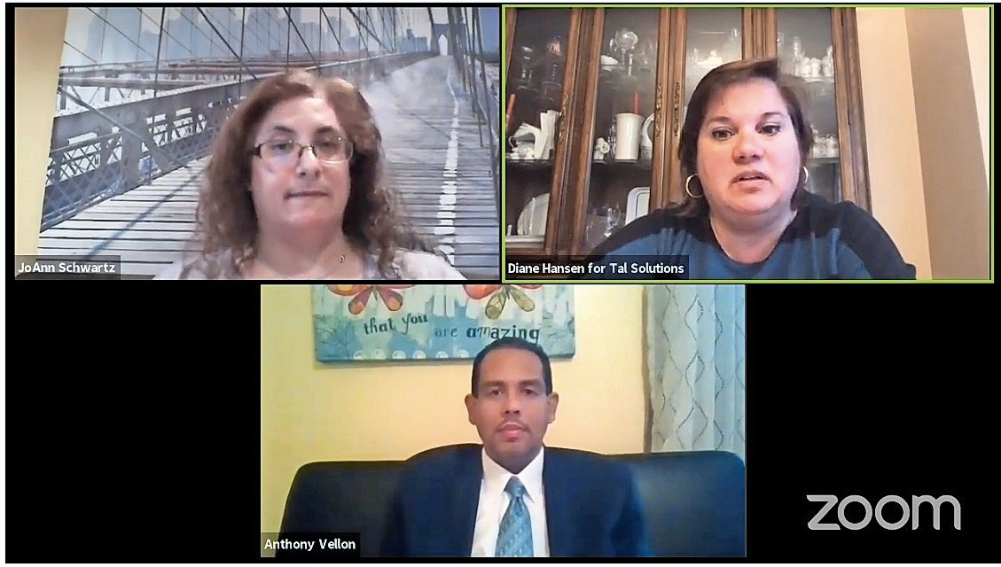 Diane Hansen and Anthony Vellon shared their ideas at the Virtual Meet the Candidates Forum on May 21. It was moderated by JoAnn Schwatz, top left.