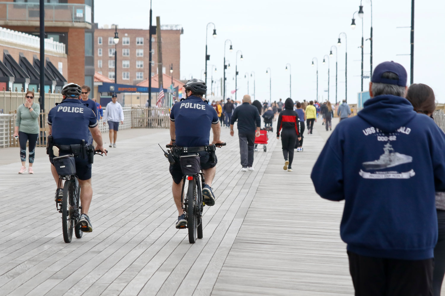 Long Beach police officers were on the boardwalk enforcing social distancing and other safety guidelines.