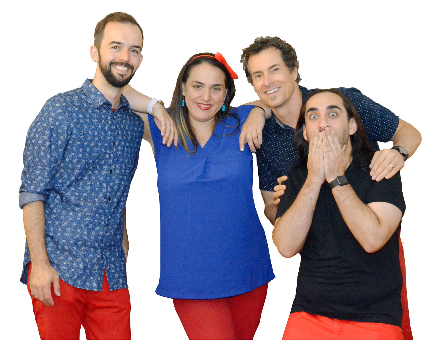 "Daniel Weinkauf and the Red Pants Band dropped their new album, ""Dinosaurs and Metaphors,"" on April 10. Above, Weinkauf, second from right, with Red Pants Band members, from left, Steve Plesnarski, Tina Kenny Jones and Russ Jones."