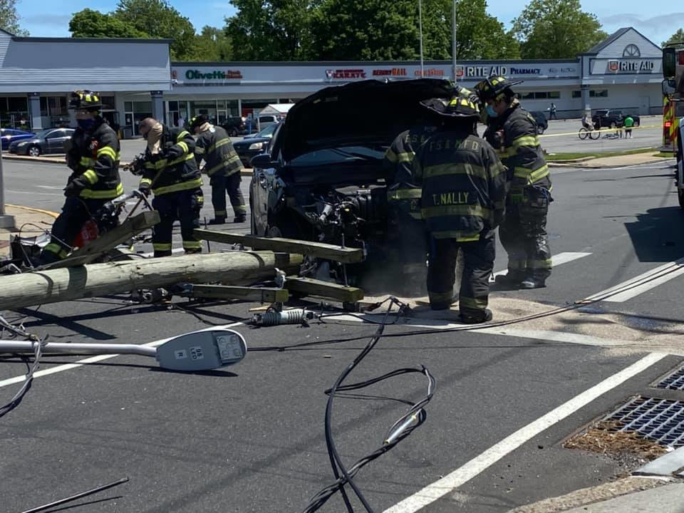 Franklin Square & Munson firefighters removed a car from an accident at the intersection of New Hyde Park Road and Tulip Avenue.