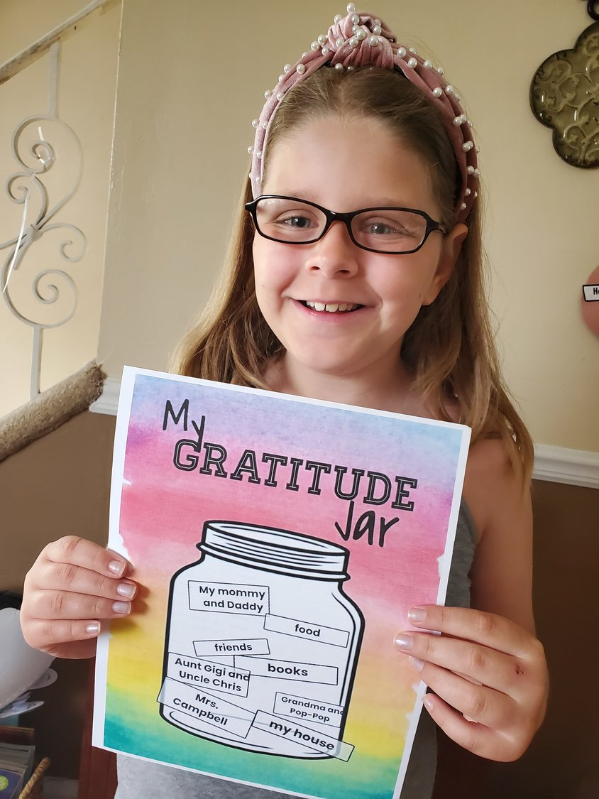 Newbridge Road Elementary second grader Sadie Heim created a gratitude jar to show what she's thankful for.