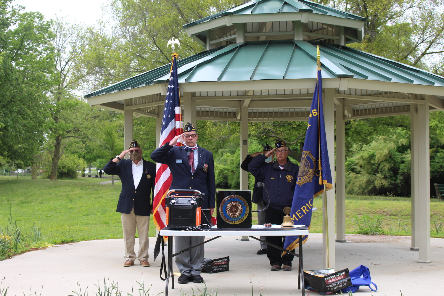 A small contingent from the Baldwin American Legion Post 246, including Commander Bob Hare, center, gave tribute to the men and women who died serving the country at a Memorial Day ceremony Monday.