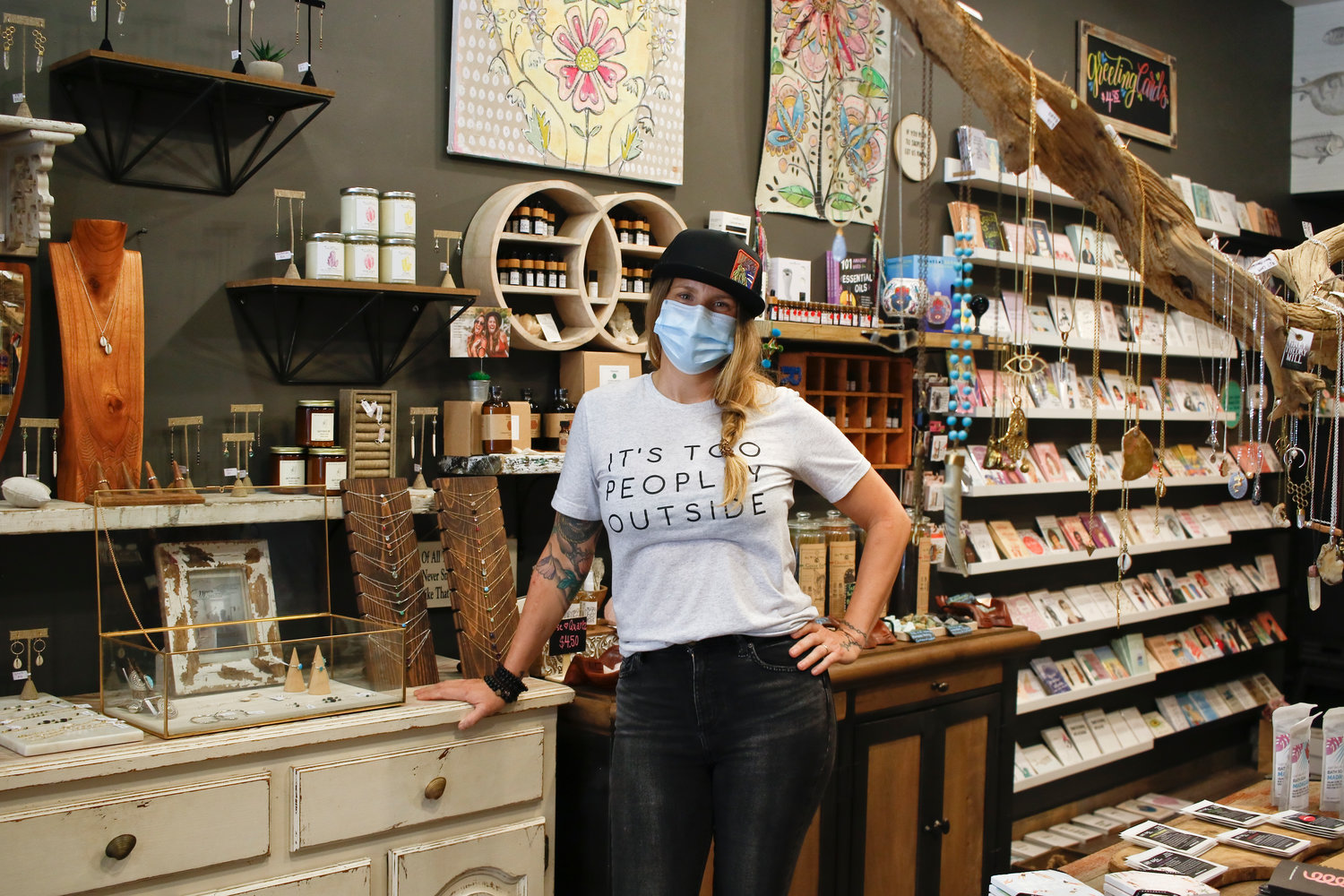 Angela Skudin reopened her store, The Codfish Cowboy, Friday, after 2-month shutdown.