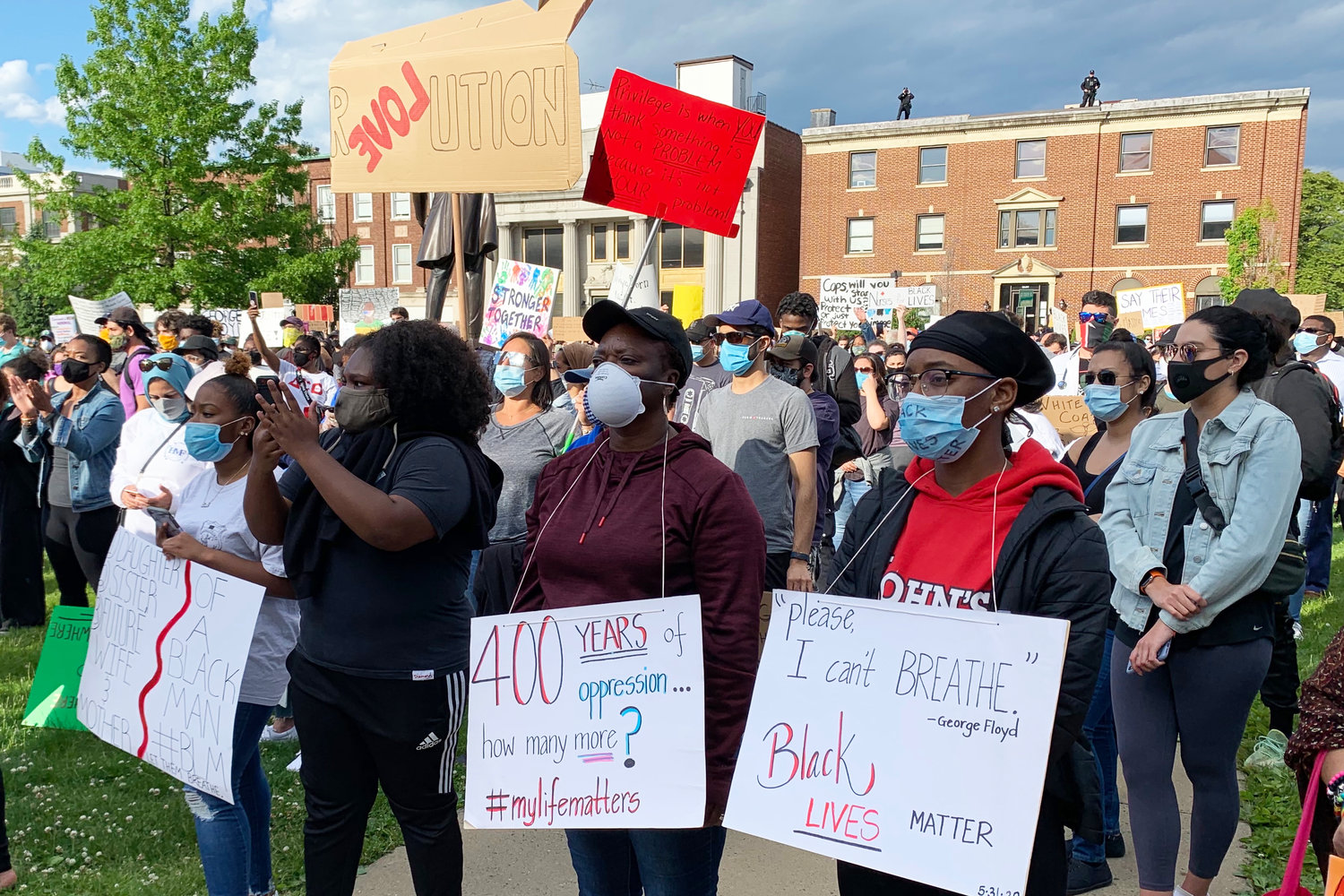 Dozens of people came to the Nassau County Legislature and Executive Building on Monday evening to protest the killing of George Floyd by a Minneapolis police officer on Memorial Day.
