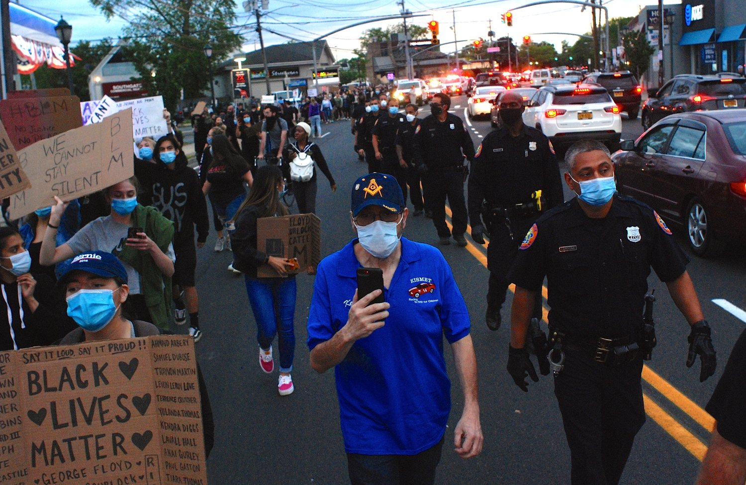 The protest shut down Merrick Road when demonstrators began to march.