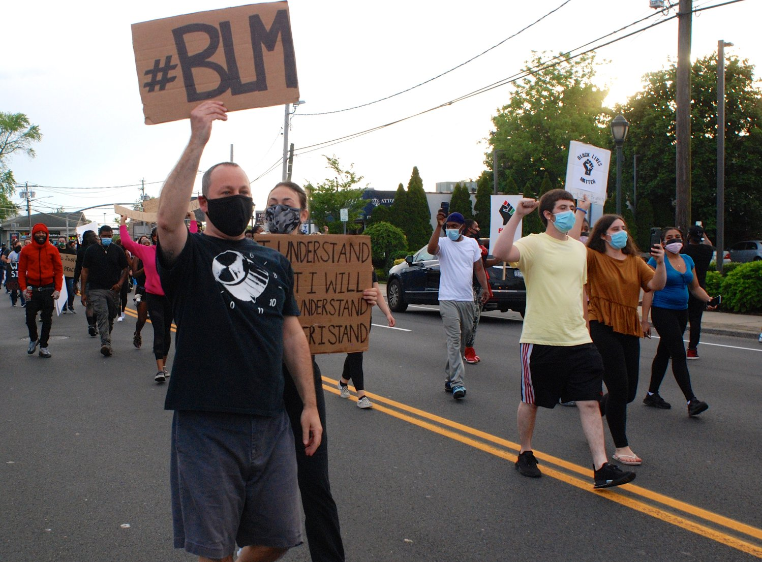 Many marchers brandished Black Lives Matter posters.