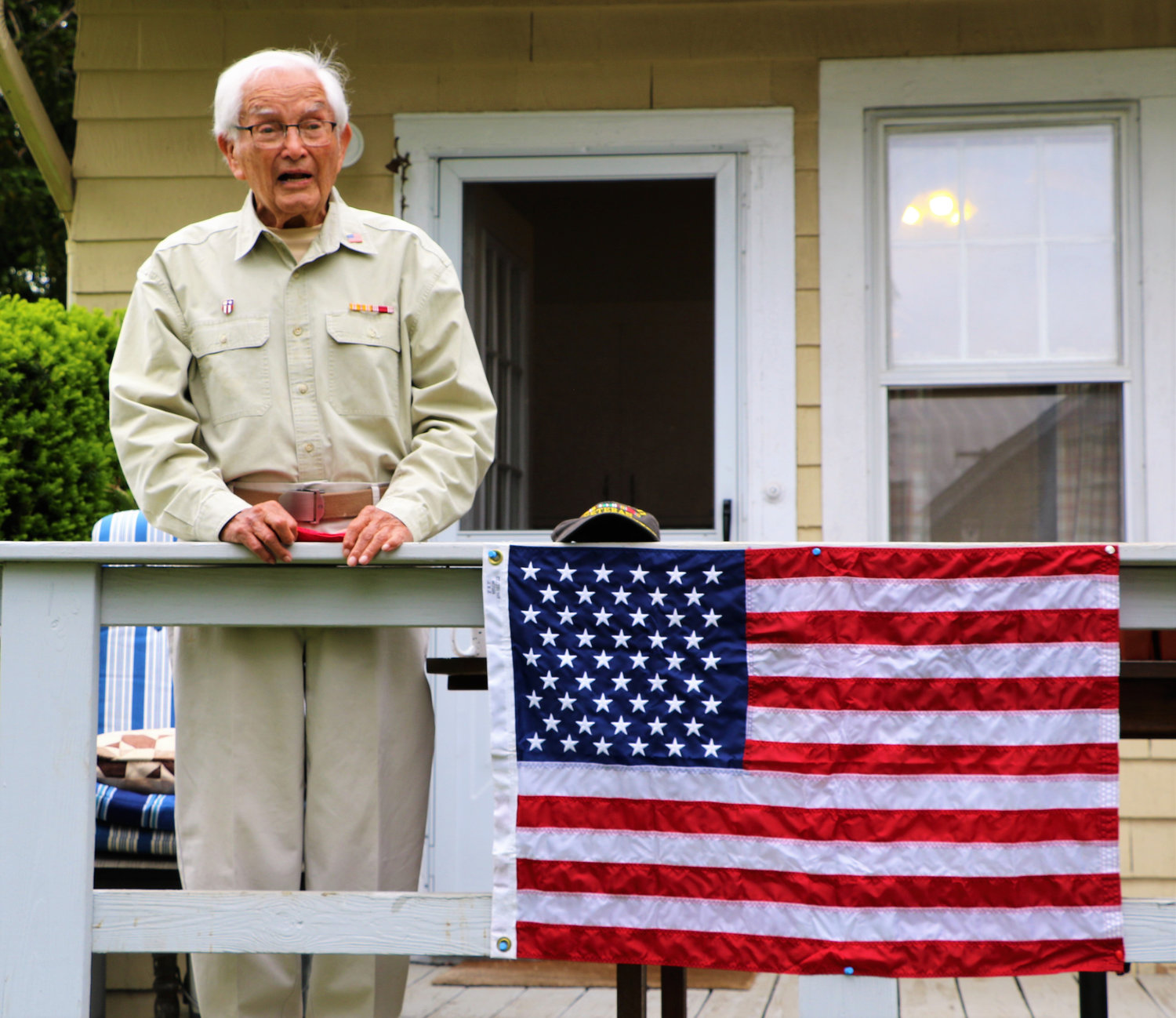 Edward Olvera, a 97-year-old Baldwin resident and World War II veteran, was honored by an intimate ceremony on Memorial Day May 25.