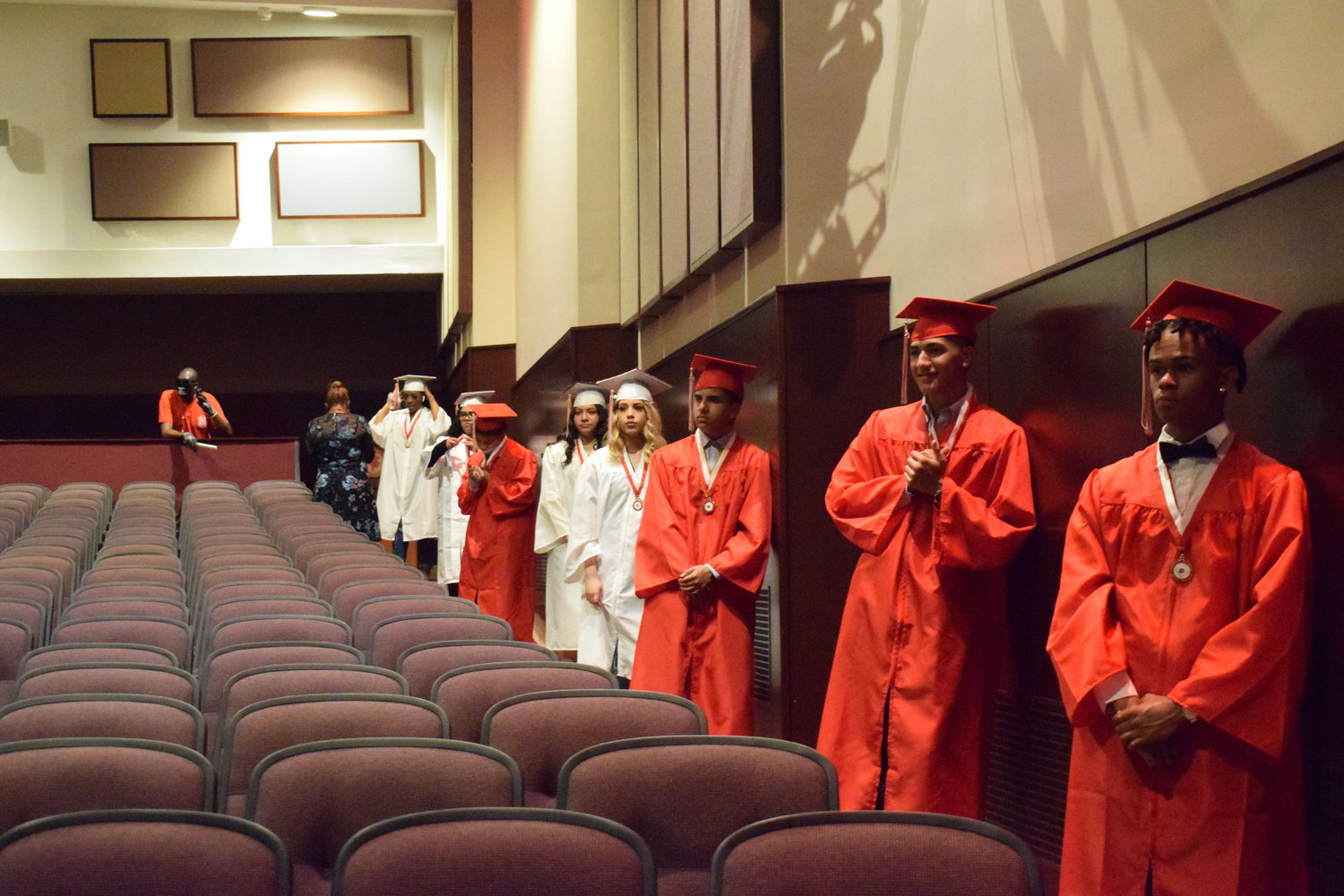 Seniors stood six-feet apart from each other as they took part in the small ceremony.
