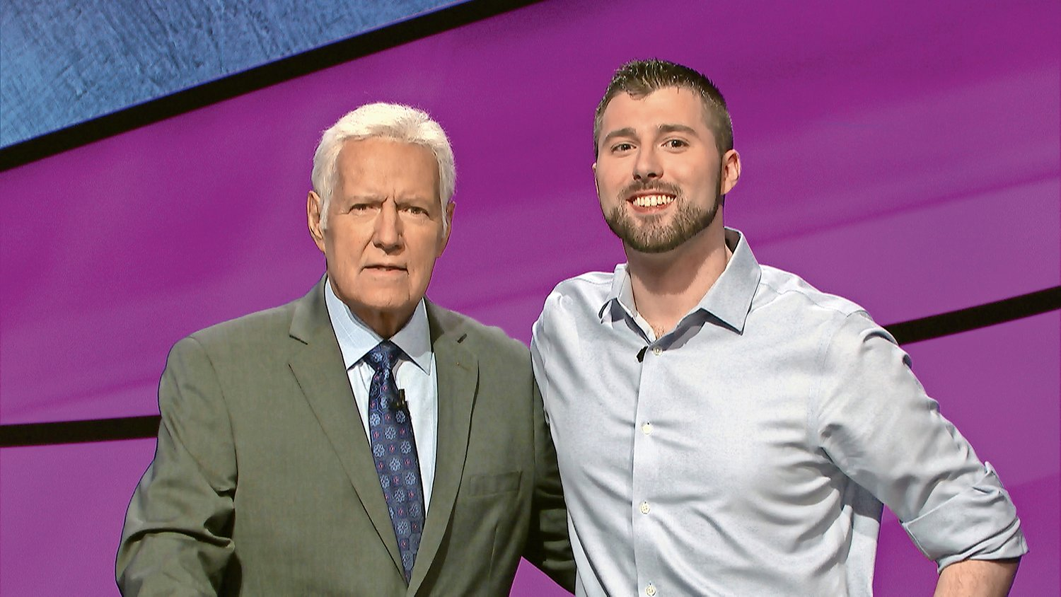 "Matt Napolitano, right, appeared on ""Jeopardy"" on June 12. He was with host Alex Trebek."