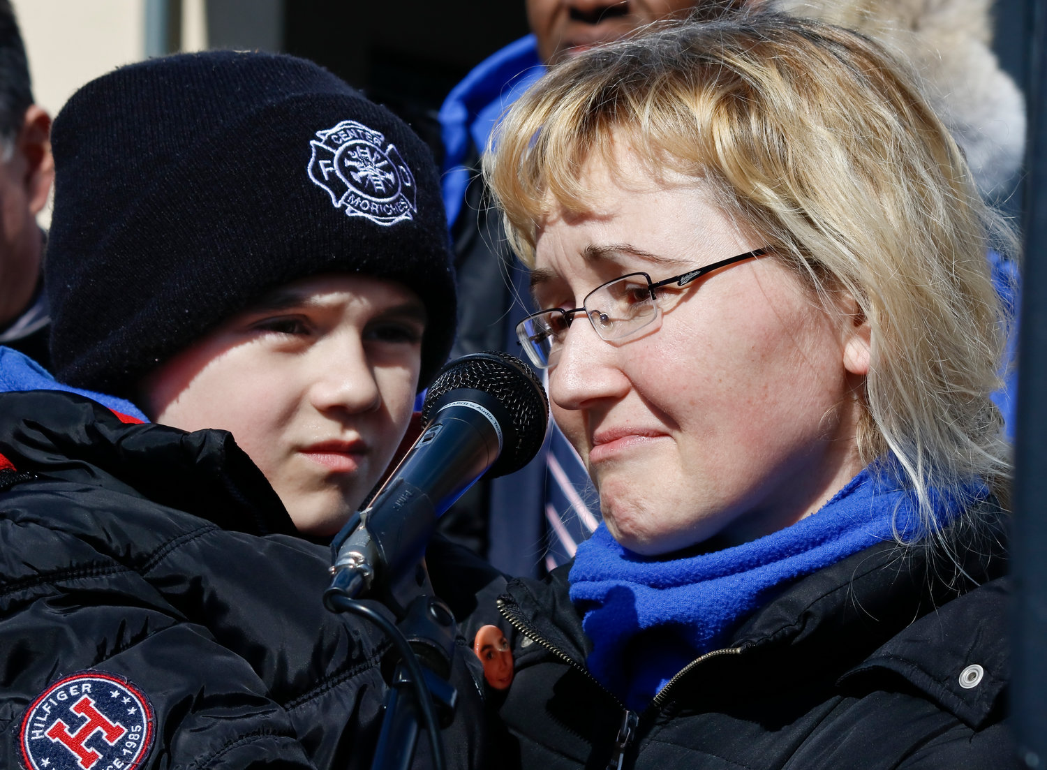 Thomas Valva's mother, Justyna Zubko-Valva, who lives in Valley Stream, tearfully delivered a speech thanking those in attendance at ceremony in March honoring of her late son. With her was Thomas's brother, Andrew.