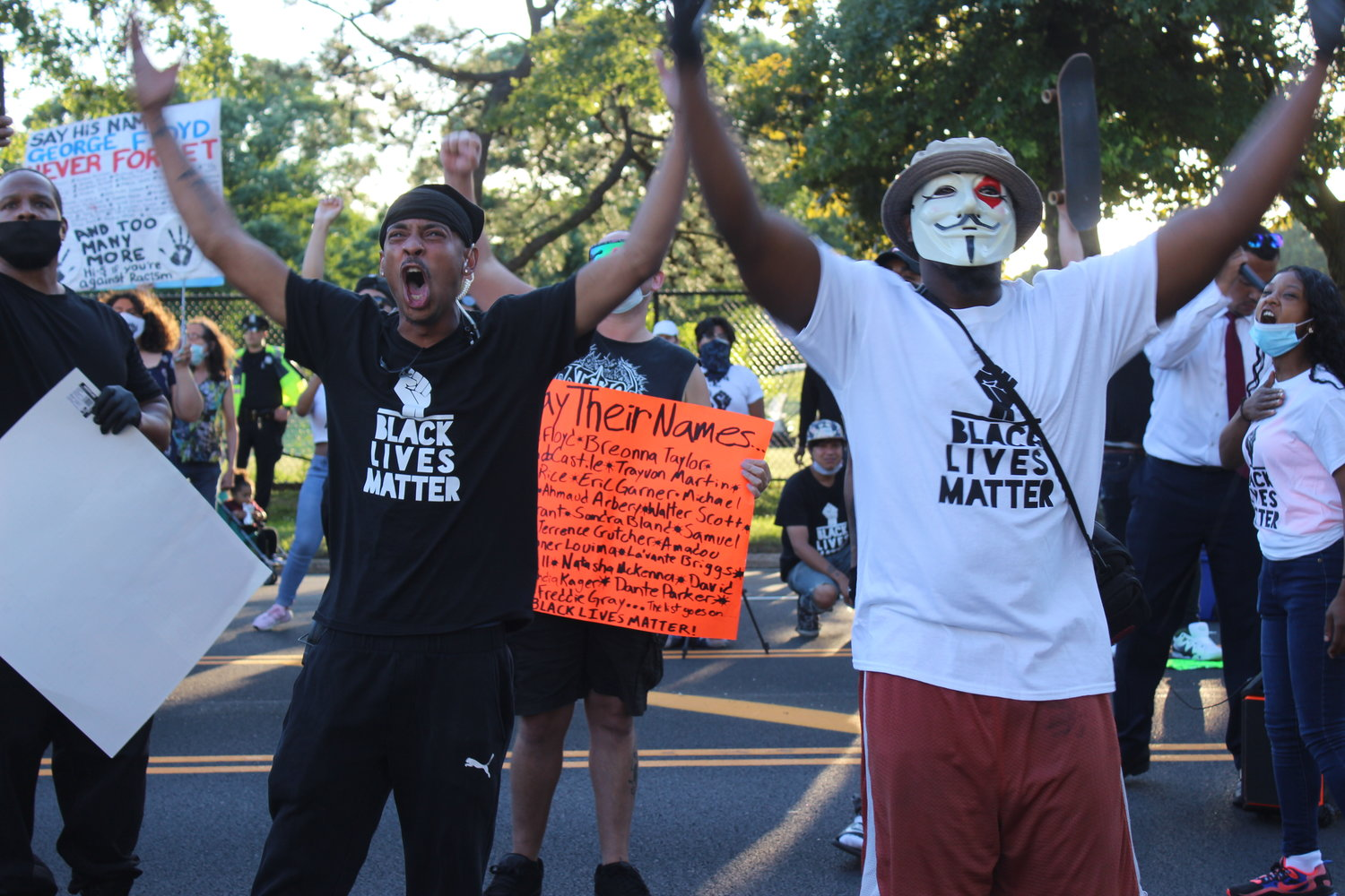 "Protesters faced the East Meadow jail and cheered, ""We love you, don't give up!"""