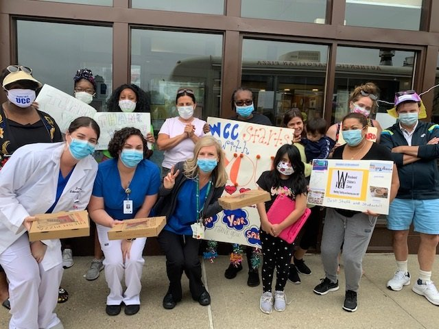 They cheered on the medical staff at the Good Samaritan Hospital, in West Islip.