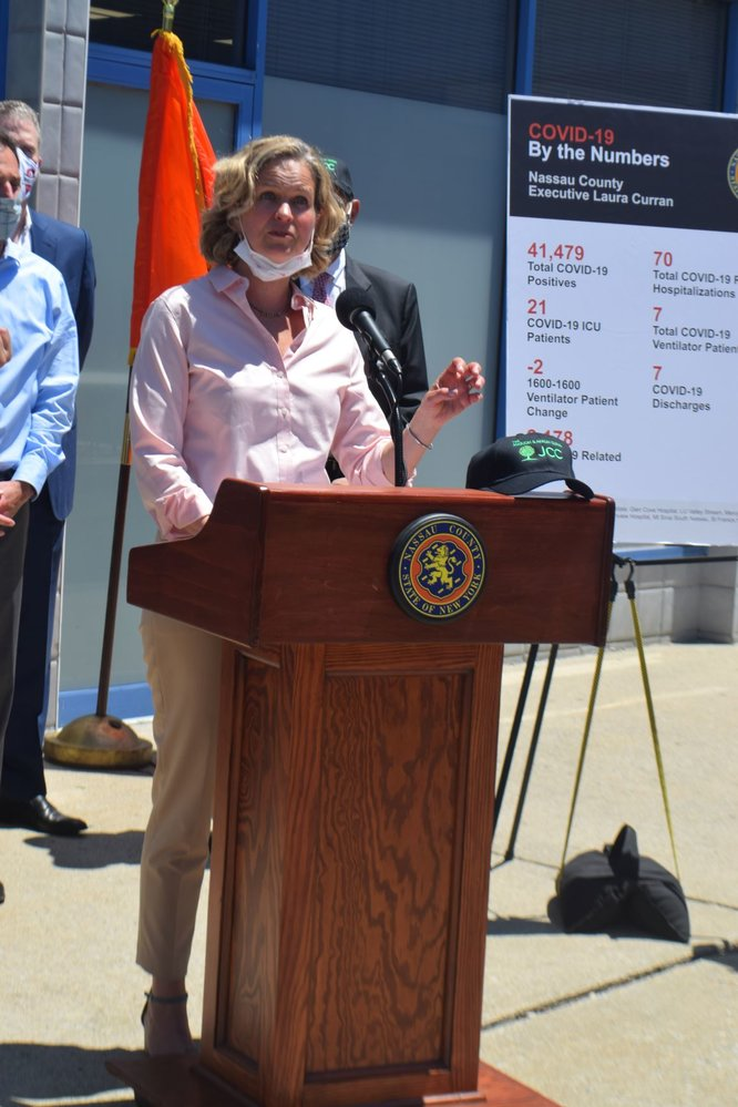 Nassau County Executive Laura Curran held her Monday news briefing outside the Gural JCC SHOP in Cedarhurst.
