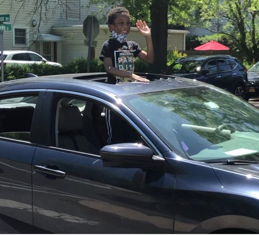 The car parade featured Baldwin students and families.