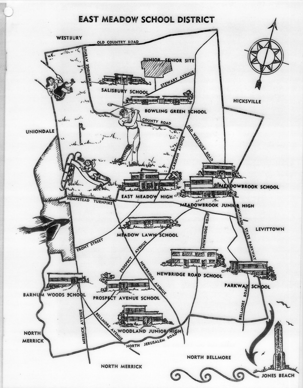 The above is a map was drawn by Phyllis Nelson, who was the art director for the East Meadow School District in 1955.
