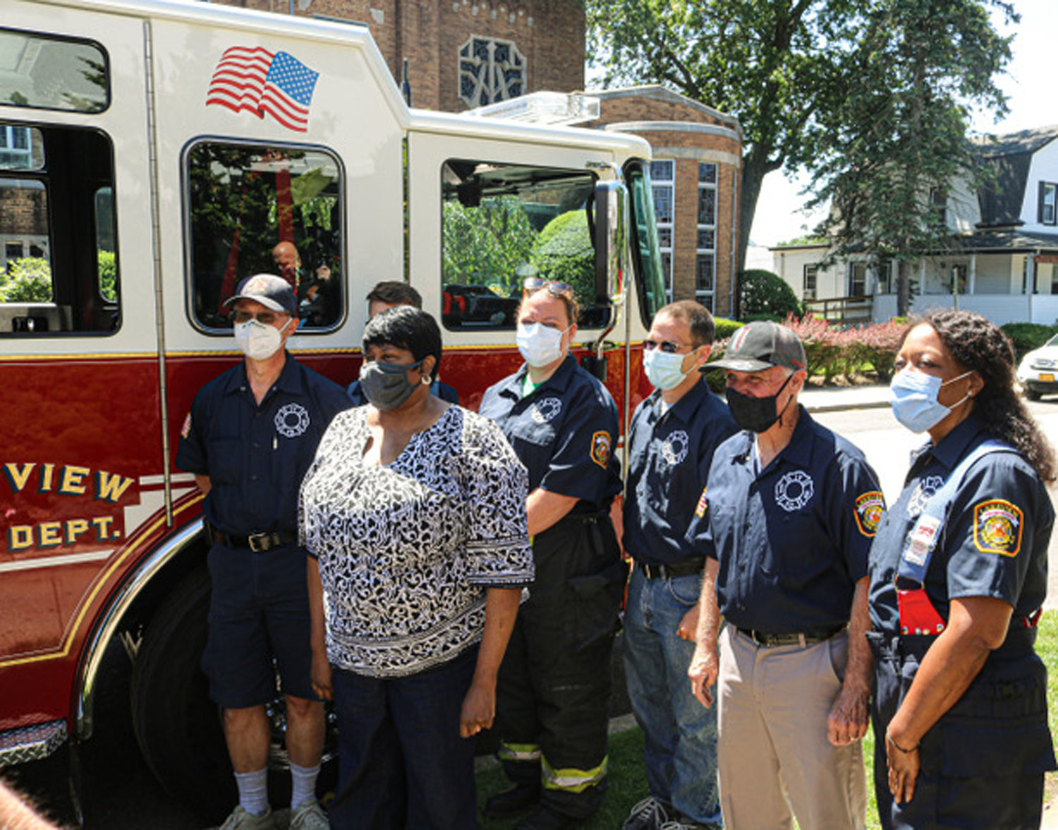 Lewis, of Rockville Centre, met with members of the Lakeview F.D. at the facility.