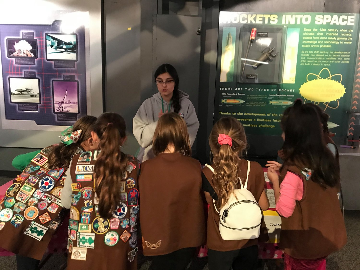 Elana Pocress, 17, of Oceanside, taught lessons in STEM to a group of Girl Scouts at the Cradle of Aviation museum in Garden City.