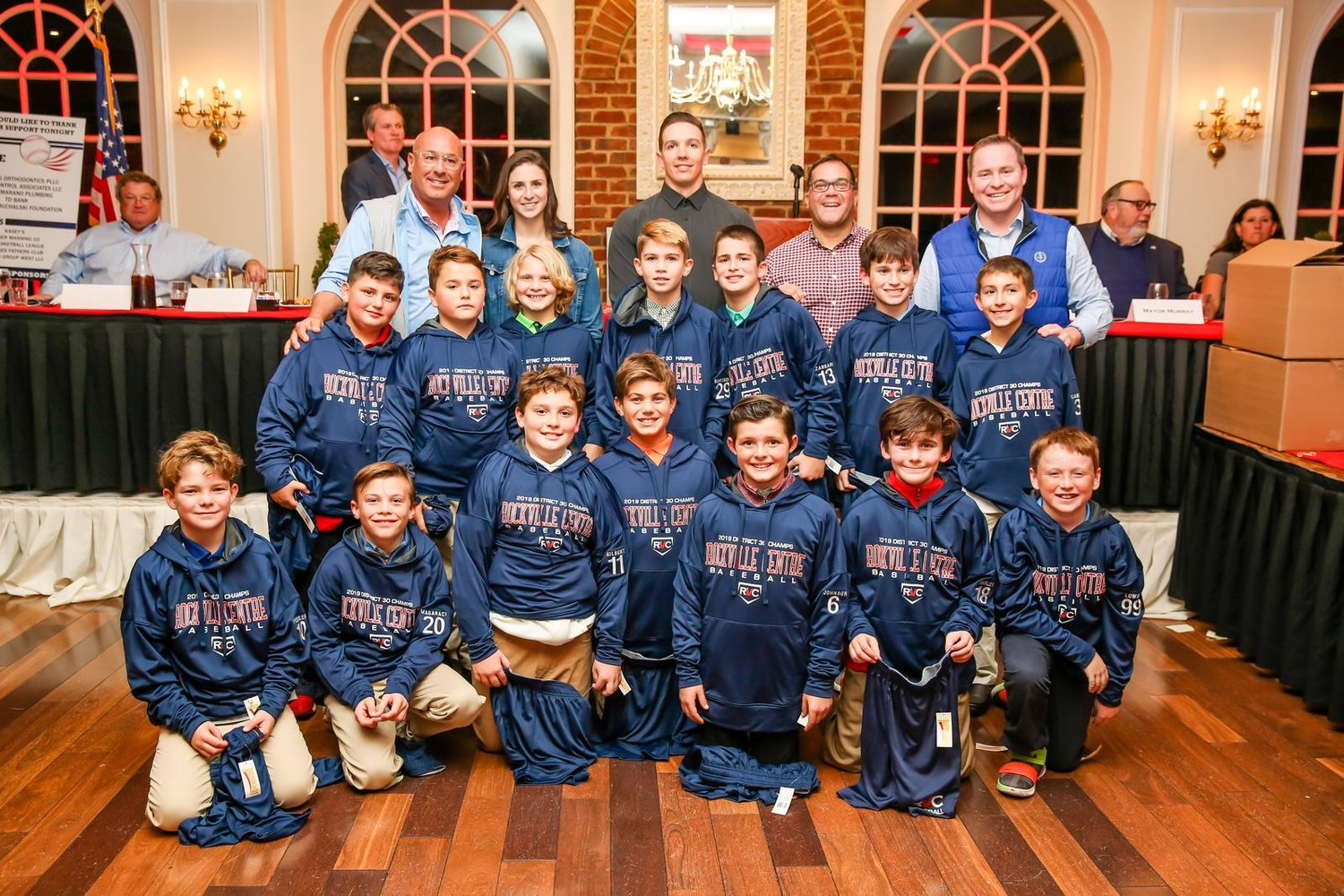 New York Yankees pitcher Chad Green, back row center, was a special guest for RVC Little League's 2019 awards ceremony.