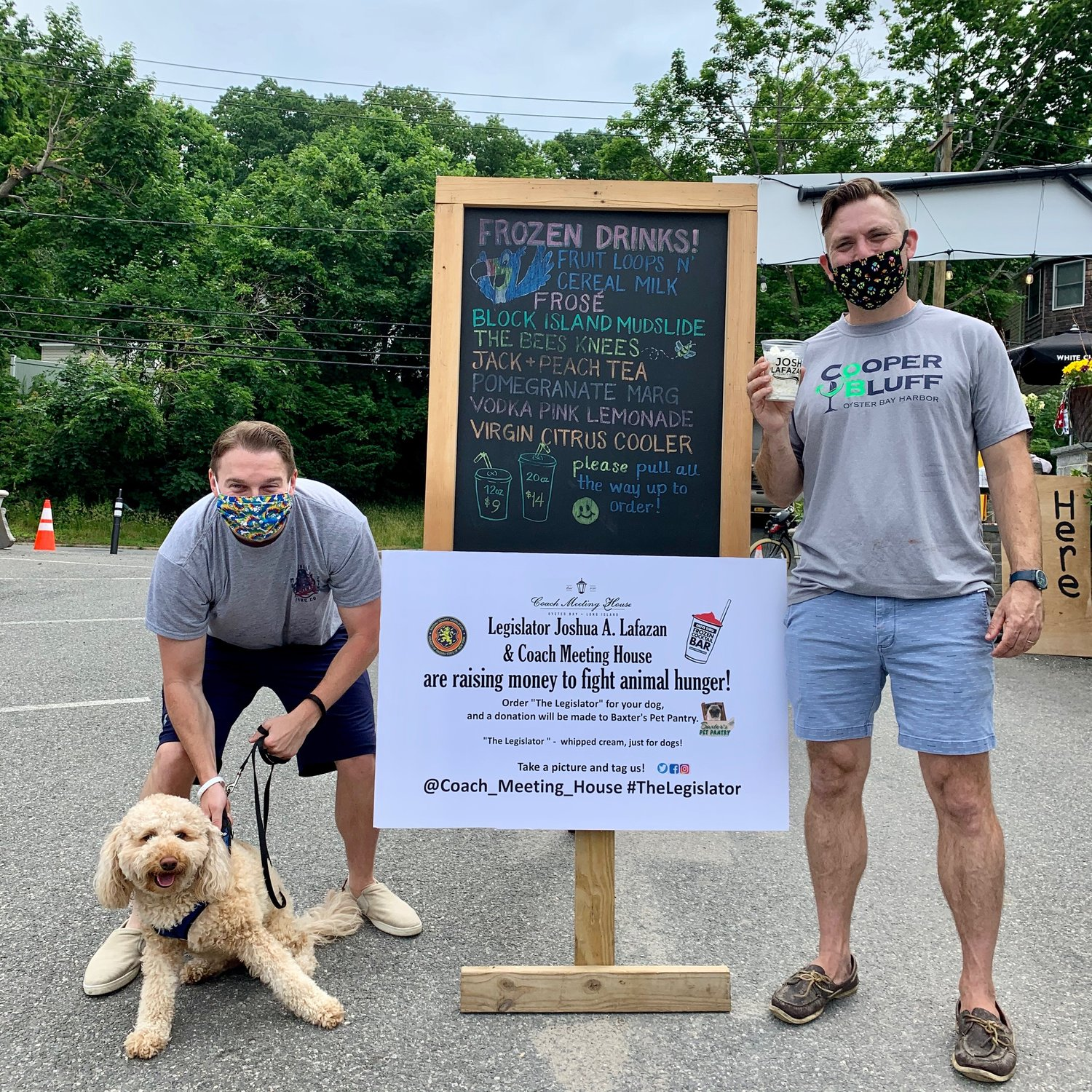 Nassau County Legislator Josh Lafazan, left, and Coach Meeting House owner Rustan Lundstrum have teamed up to raise money for Baxter's Pet Pantry.