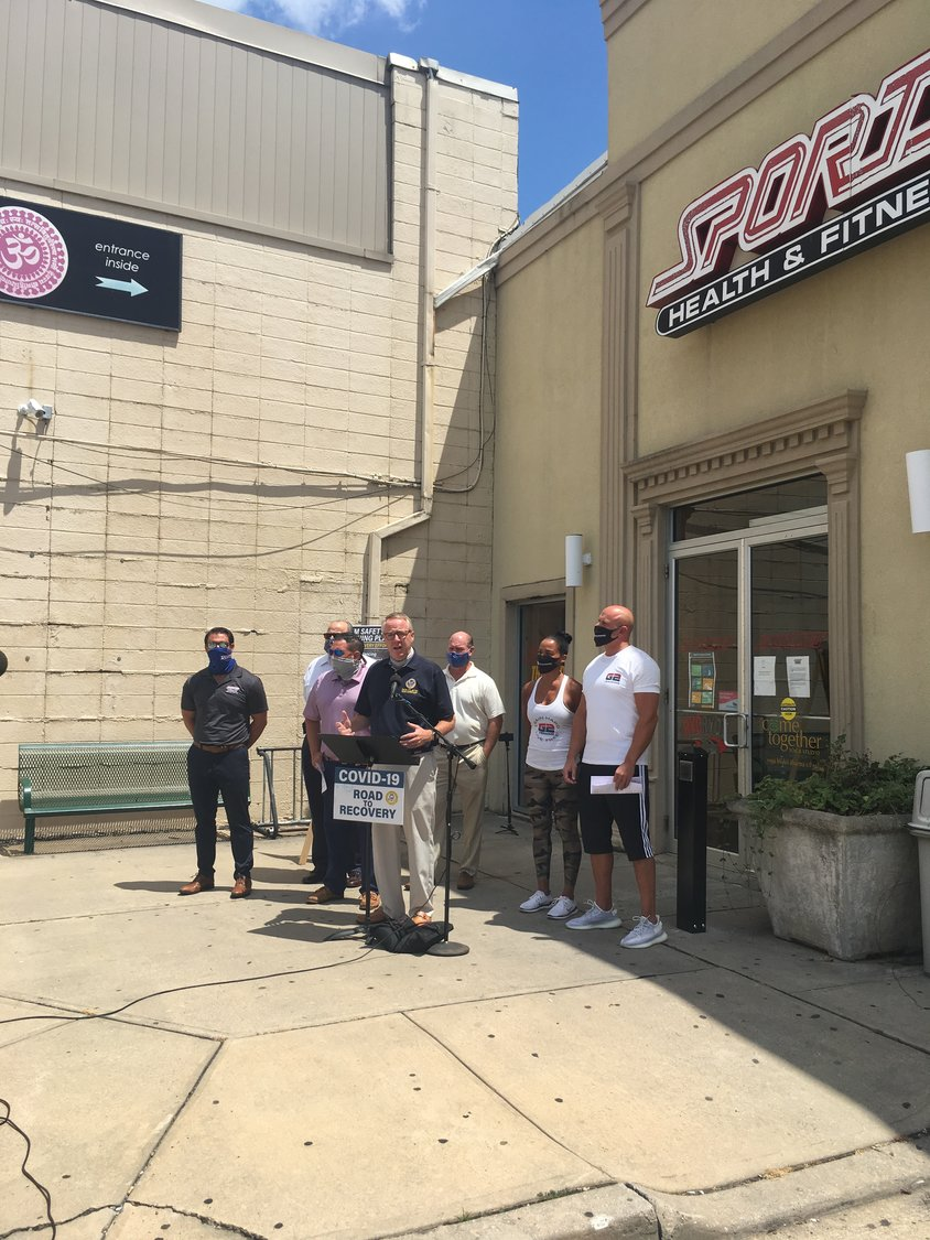 At a news conference Monday, Town of Hempstead Supervisor Don Clavin spoke about the investments made by fitness centers to make their facilities safe and said the state should work with local governments to allow them to reopen.
