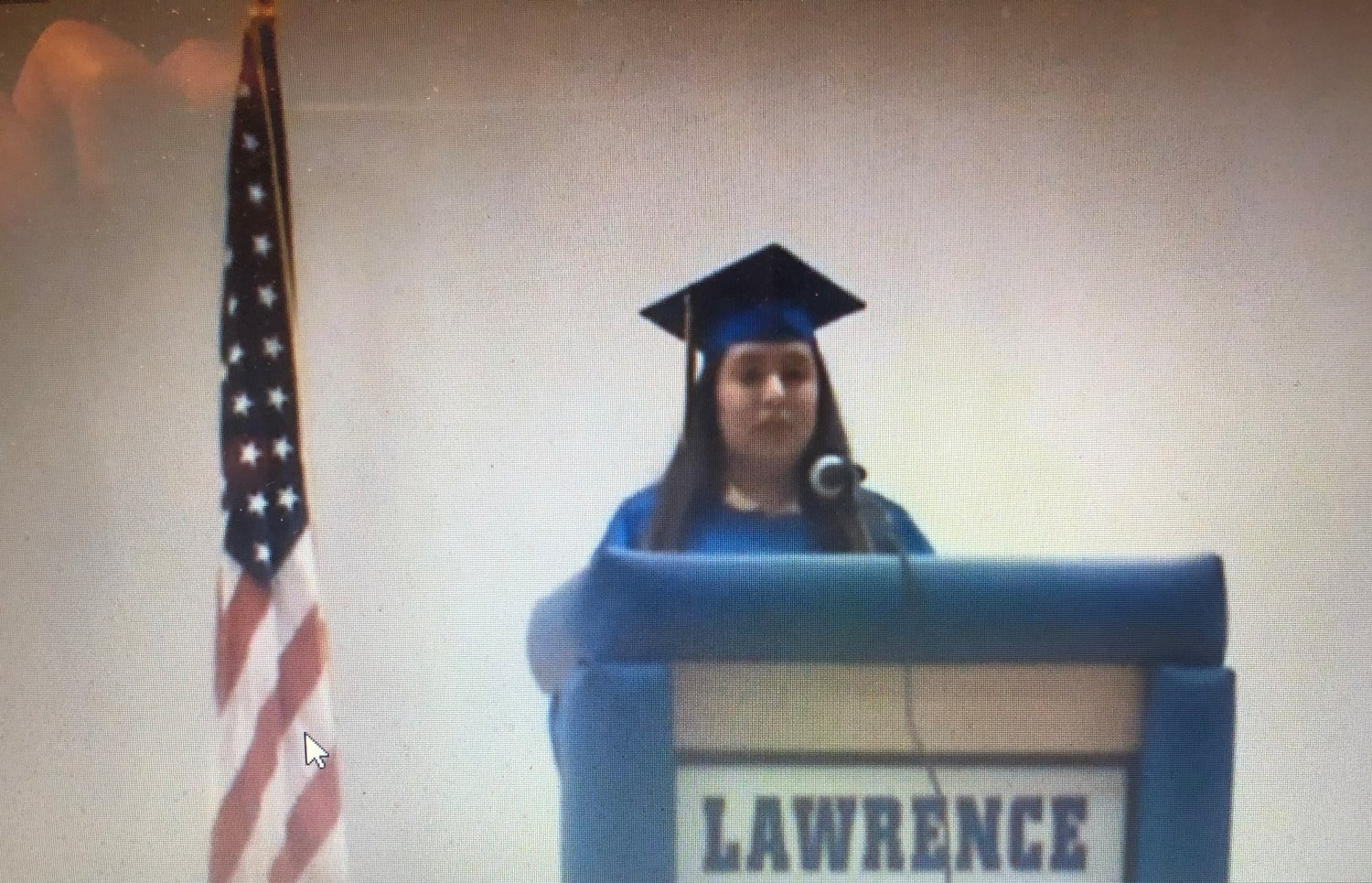 Honor speaker Kimberly Palacios spoke during Lawrence High School's virtual graduation.