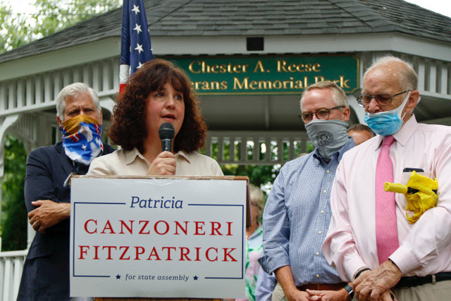 Lifelong Malvernite and former village deputy mayor Patricia Canzoneri-Fitzpatrick, at lectern, announced her candidacy for State Assembly District 21 on Tuesday.