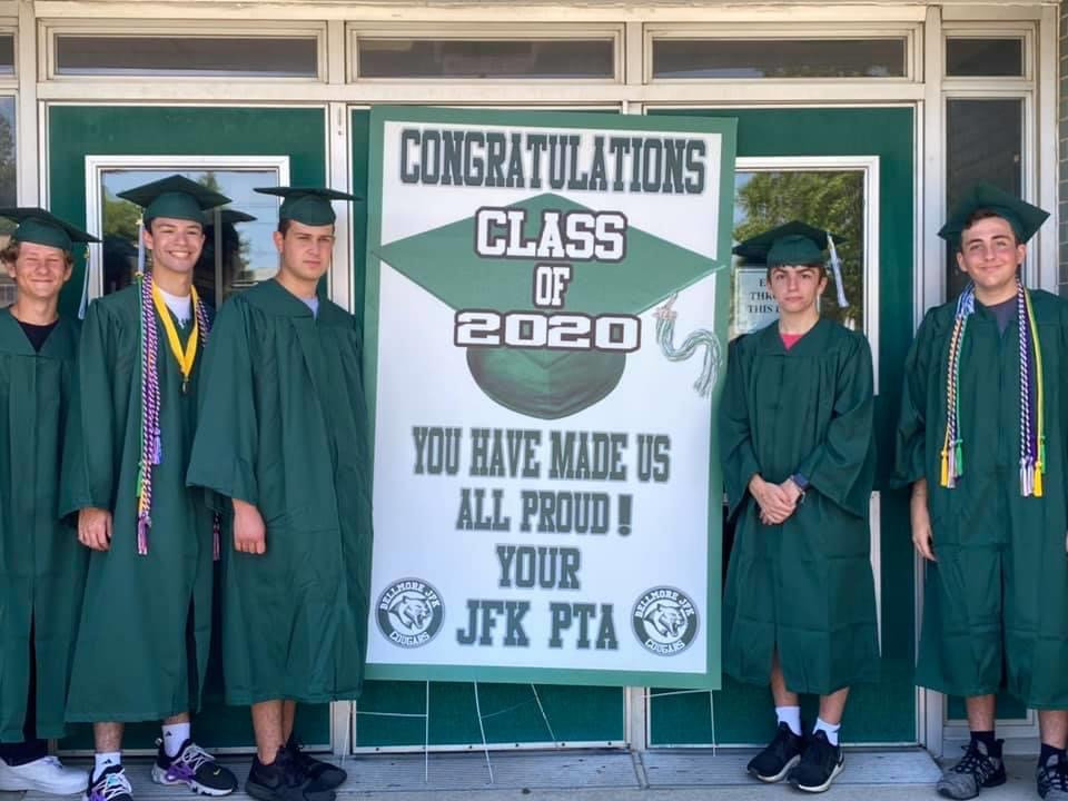 Friends Max Feldman, left, Jordan Berke, Vincent DiMartino, Ross Gossett and Jared Weinstein took one last picture together as Kennedy students before graduating.