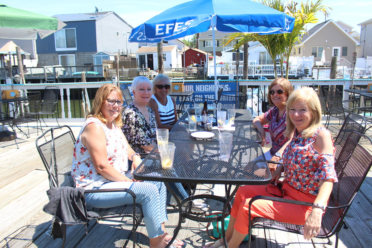 Maura Kerley, clockwise from front right, Kathy Kerley, Kathy Brucia, Mary Ellen Seifert and Cathy Fries dined outdoors at Sonny's Canal House on June 19.