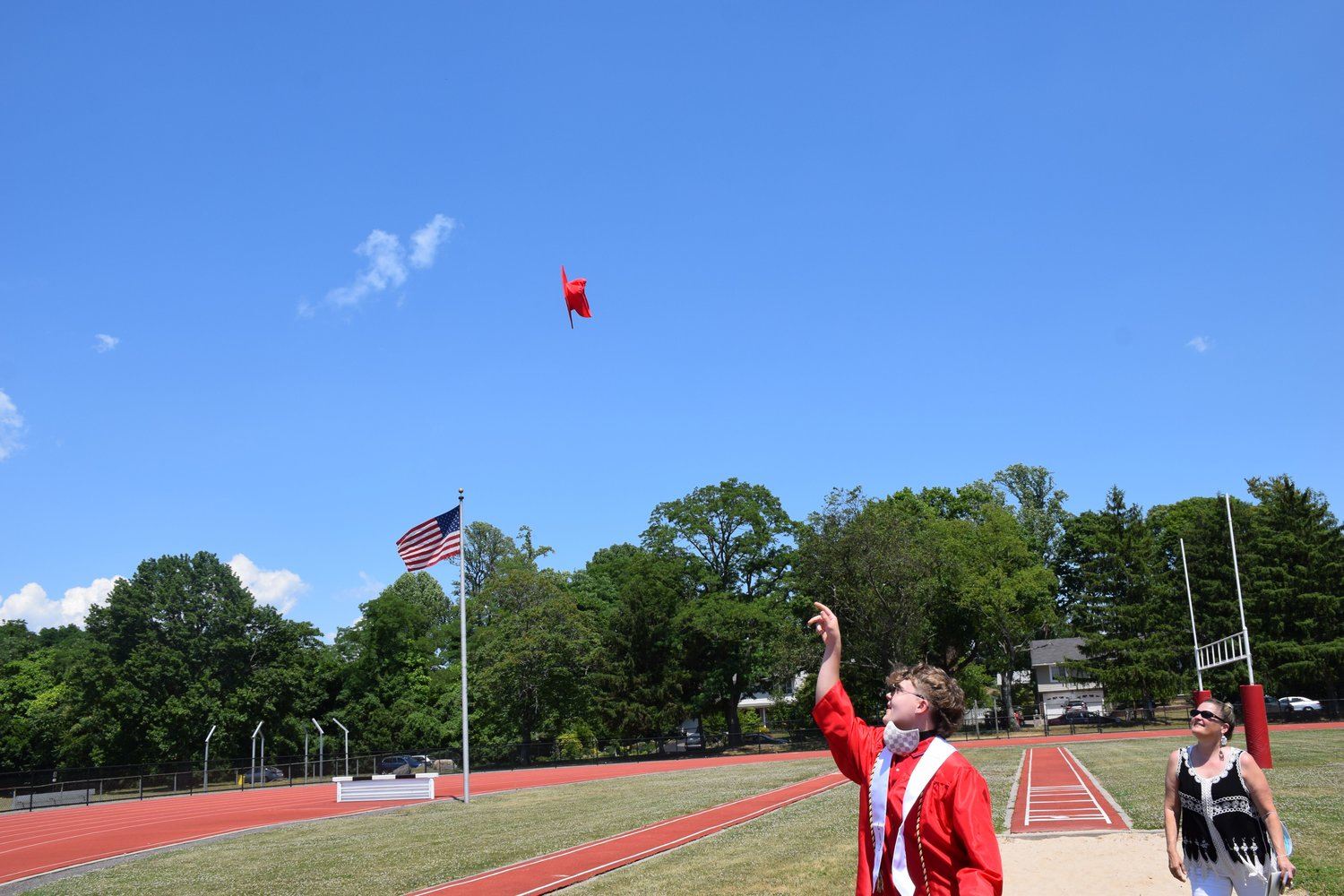 A Glen Cove High School graduate celebrated after receiving his diploma.