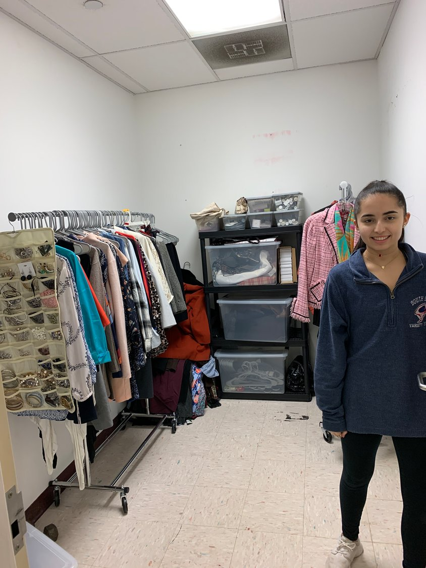 Isabella Verga, 17, created a way for low-income adults to have better success on job interviews. Those interested can make an appointment to select items, once the Rec Center is open to the public again.