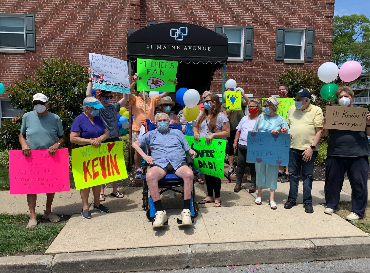A celebration was held at The Grand Pavilion on June 24 in honor of the 60th patient to recover from Covid-19. Kevin McCay, center, was the 60th patient to recover from the disease.