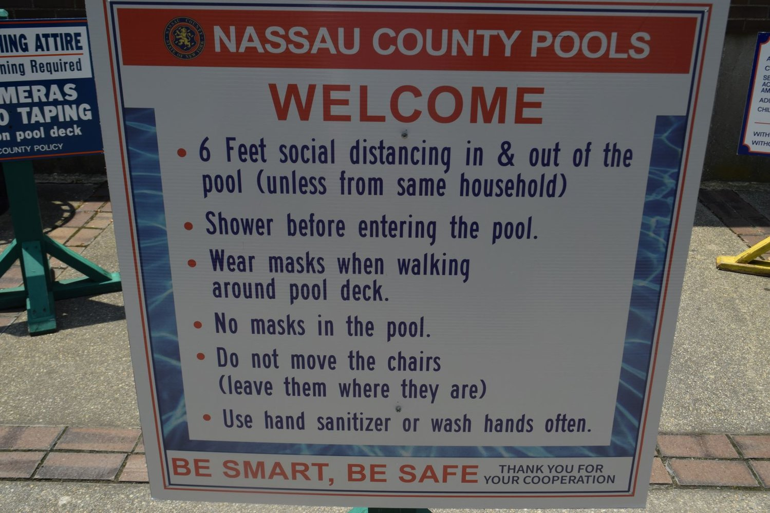 Nassau County's rules for using the swimming area at North Woodmere Park.