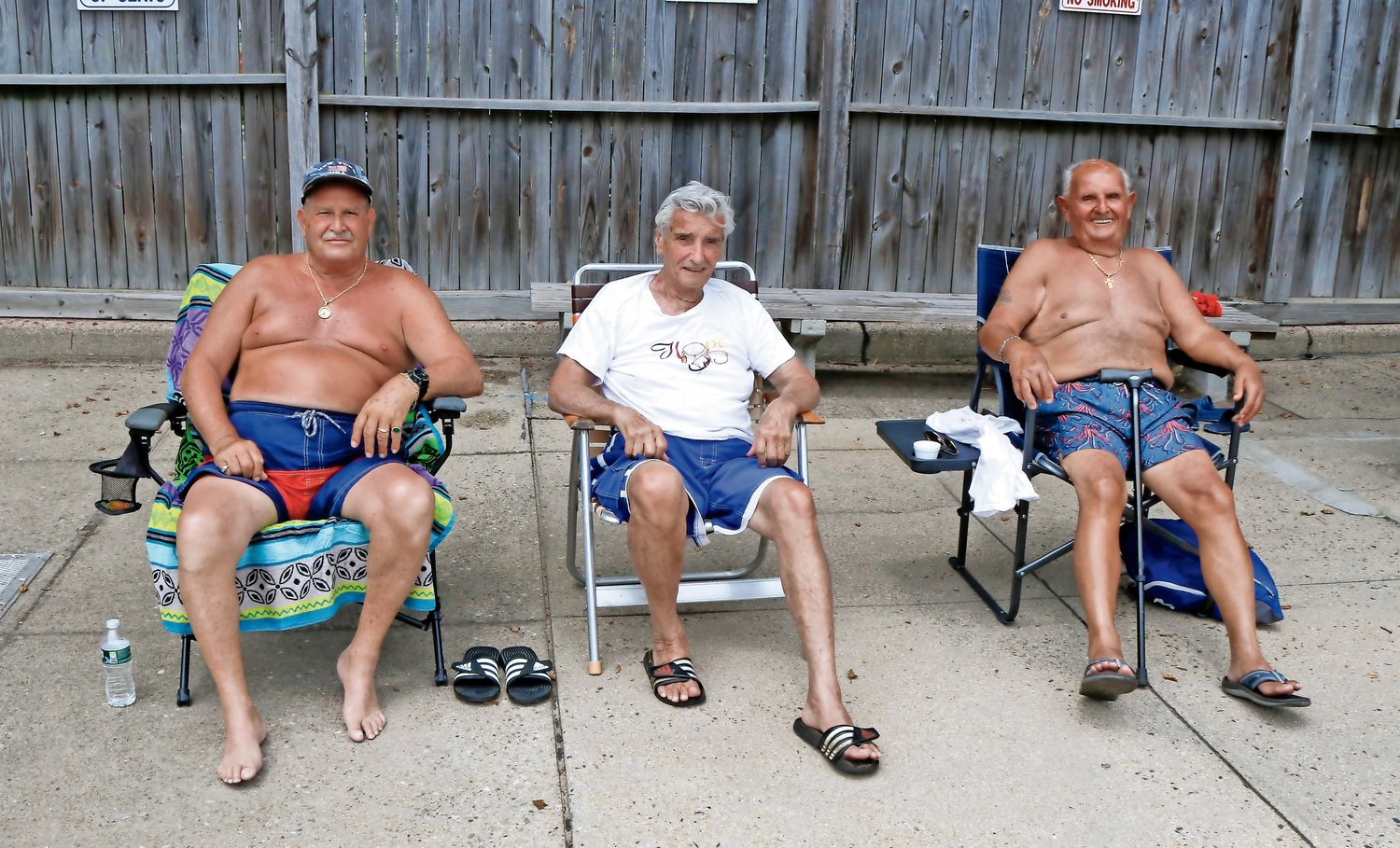 Doo Wop Group members, Giovanni Montenora, Richard Ernst and Tony Brito relaxed poolside.