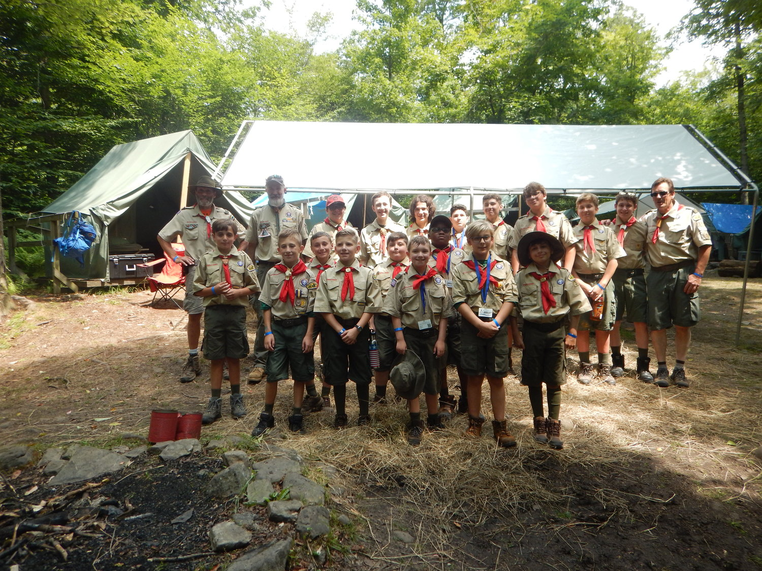 Boy Scout Troop 351, which recently worked to supply the US Navy's USS Theodore Roosevelt with hygienic supplies, at summer camp in 2019.