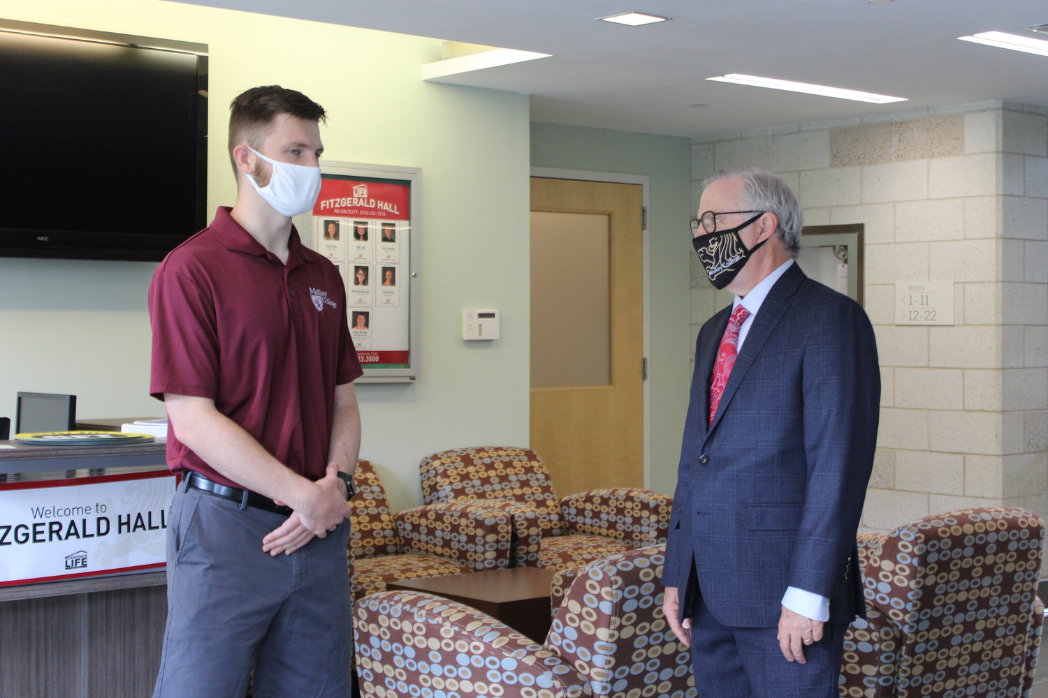 Jack Ryan, a student ambassador and resident assistant at Molloy College, left, and President Jim Lentini spoke about the changes Molloy is making to ensure health and safety when students return in the fall.