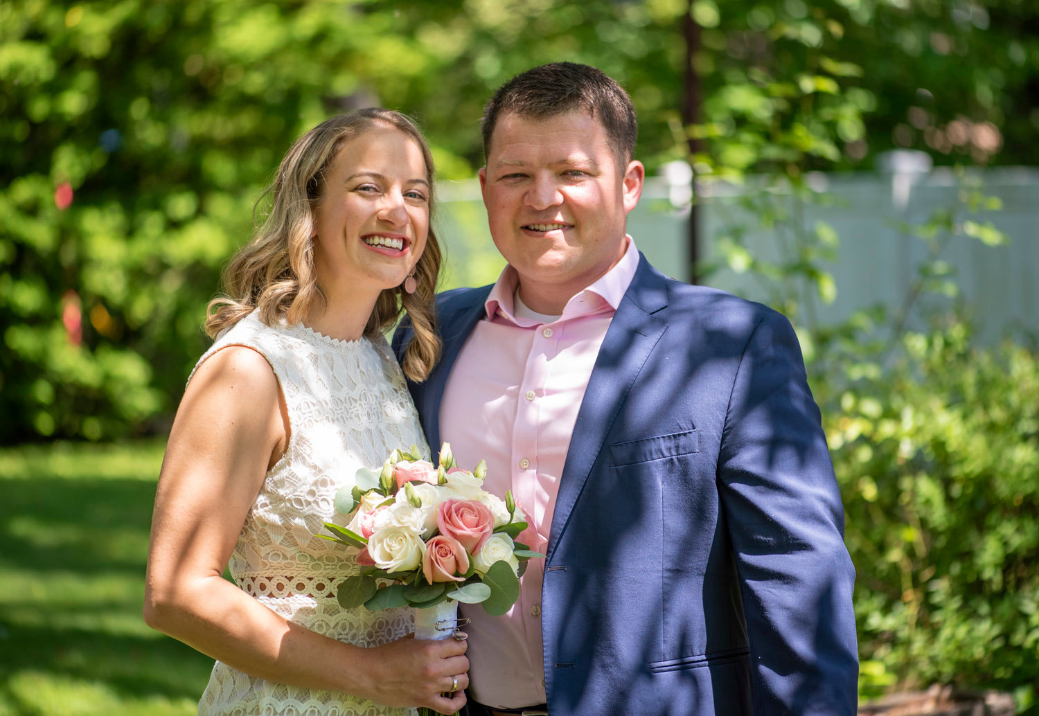 Shane Malone and Kristin Glocksien, of Long Beach, recently married in an intimate, socially distant backyard wedding in Baldwin last month.