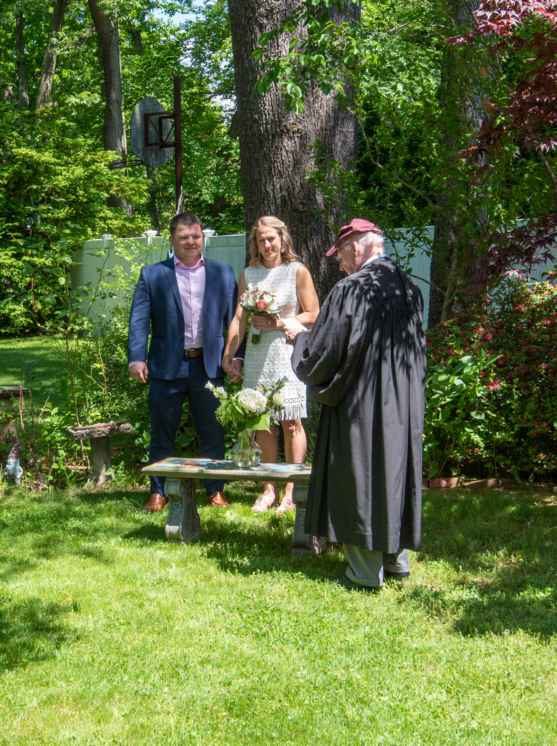 The couple were married by the groom's 92-year-old grandfather, Judge Leo McGinity.
