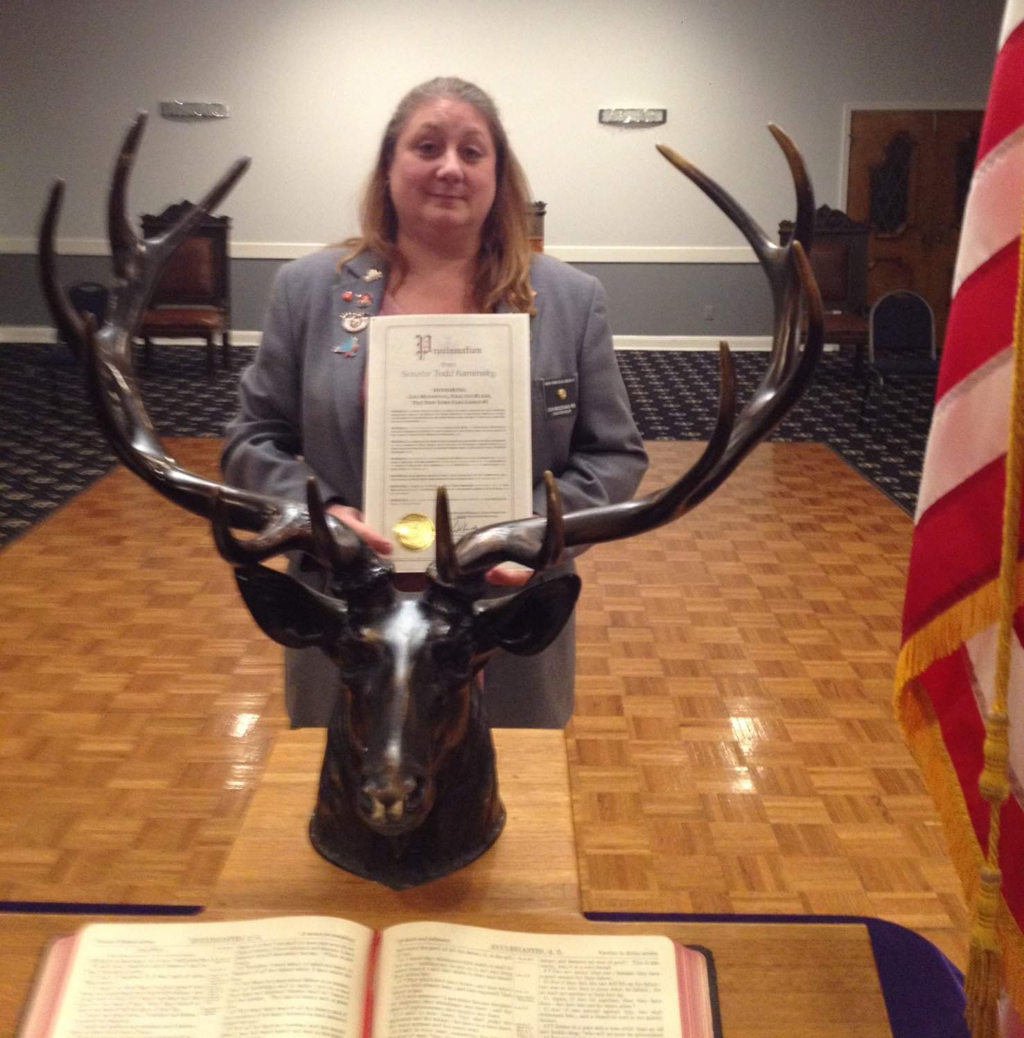 New York Elks Lodge No. 1 Exalted Ruler Lisa Moldovan was recently honored with a proclamation for all she has done in the community.