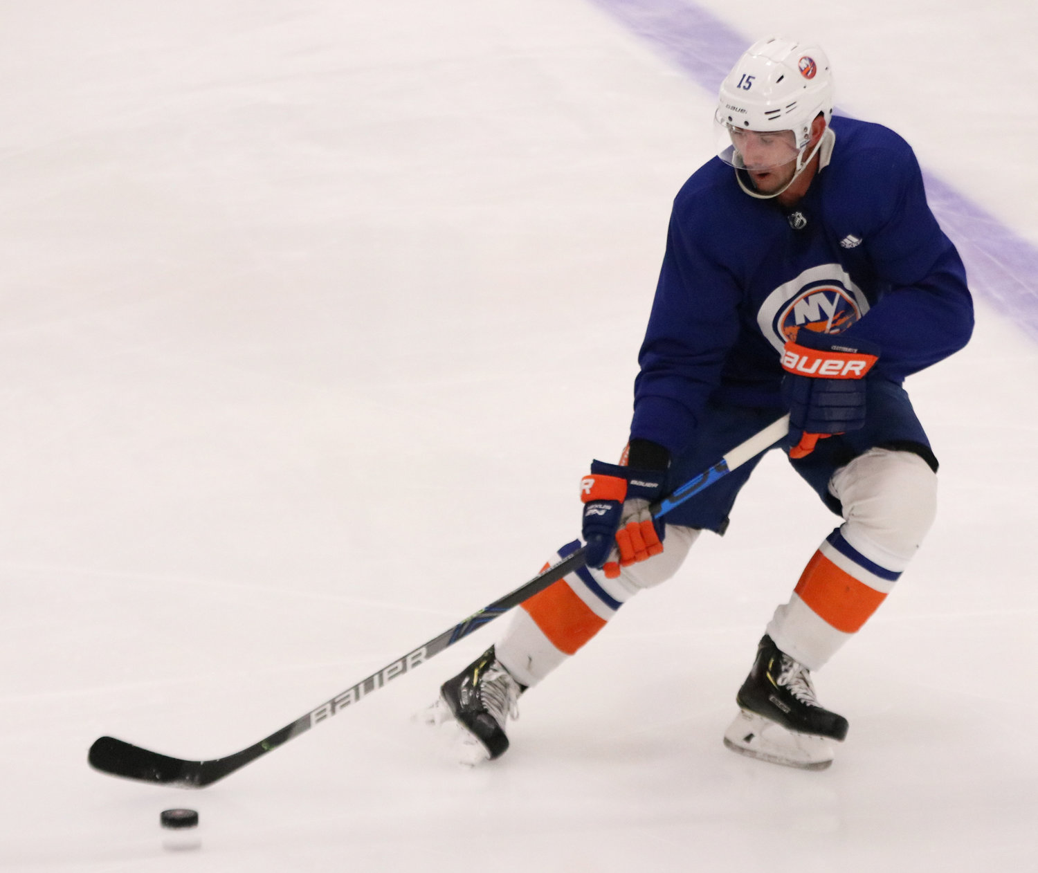 Cal Clutterbuck was a handful of Islanders who participated in voluntary workouts in June.