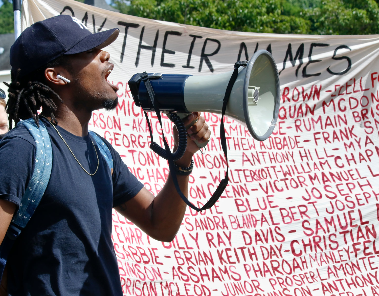 When Antwan Brown was handed a bullhorn at the Black Lives Matter Rally and March, he repeated that rallying cry.