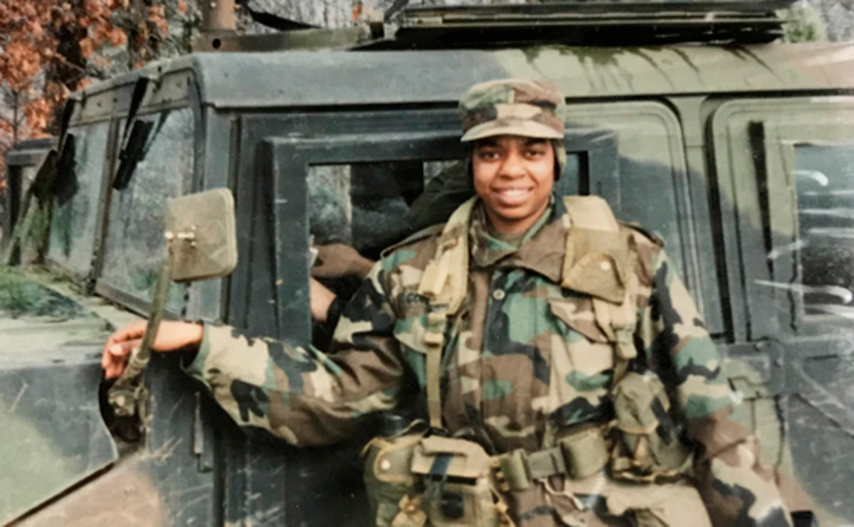 Jackie Gordon as a young company commander in Germany. She served in Iraq and Afghanistan, retiring after 29 years in 2014 as a lieutenant colonel.