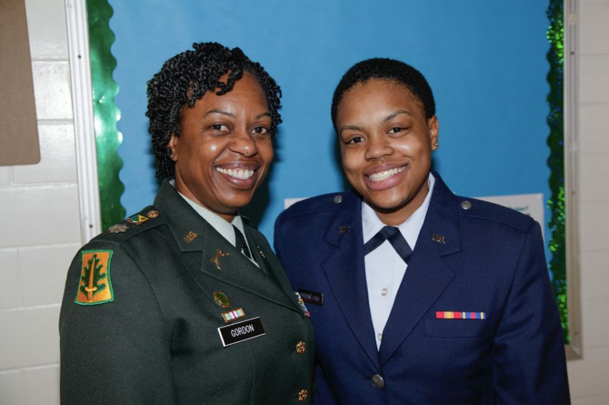 Then Maj. Gordon with her daughter, Kerrianne, who currently serves as a captain in the Air Force.