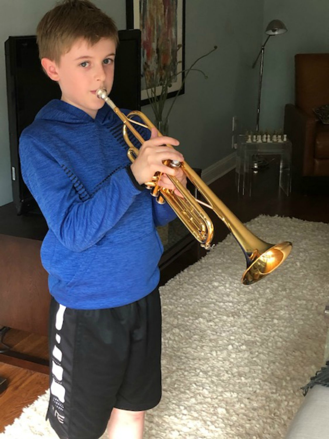 Braden Cosgrove, of Locust Valley loves playing the trumpet.