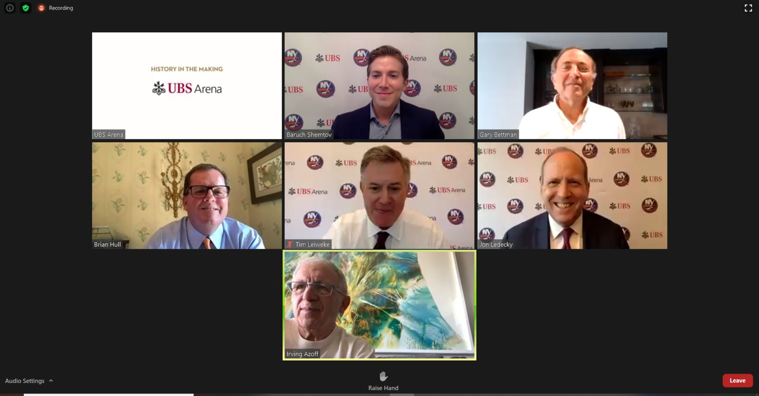 Baruch Shemtov, above, center, hosted a virtual town hall meeting about the Belmont Park arena project with NHL Commissioner Gary Bettman, UBS Executive Vice Chairman Brian Hull, Oak View Group CEO Tim Leiweke, Islanders co-owner Jon Ledecky and The Azoff Company Chairman Irving Azoff.