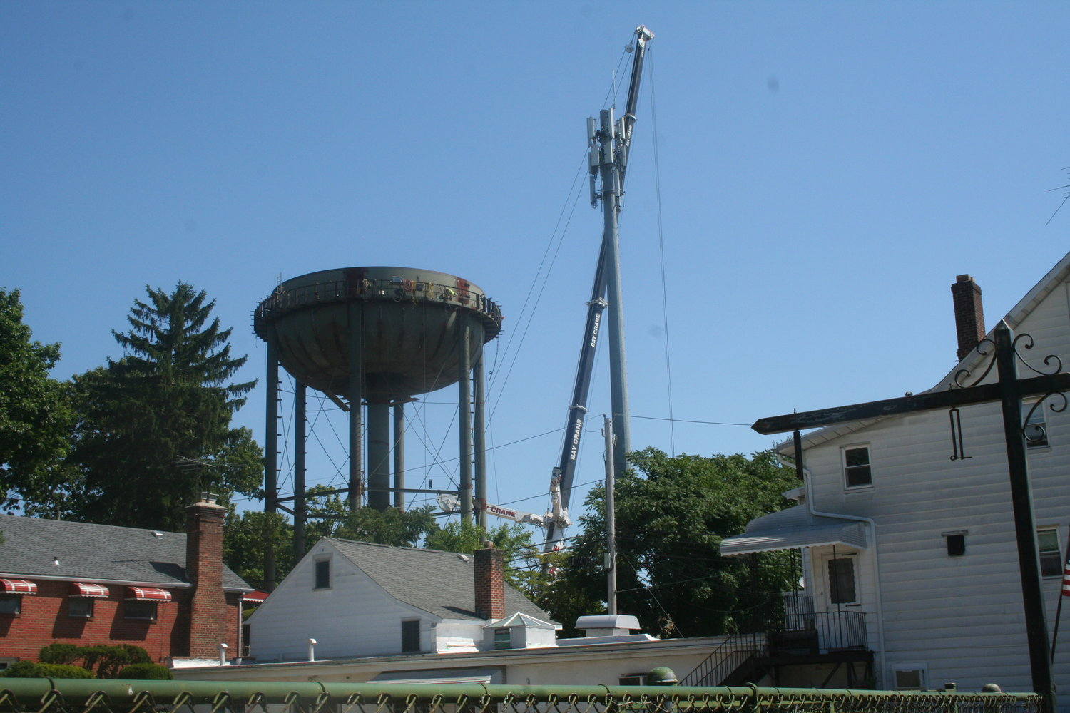 The Glen Head water tower had been offline since the dismantling of the first tank began in January.