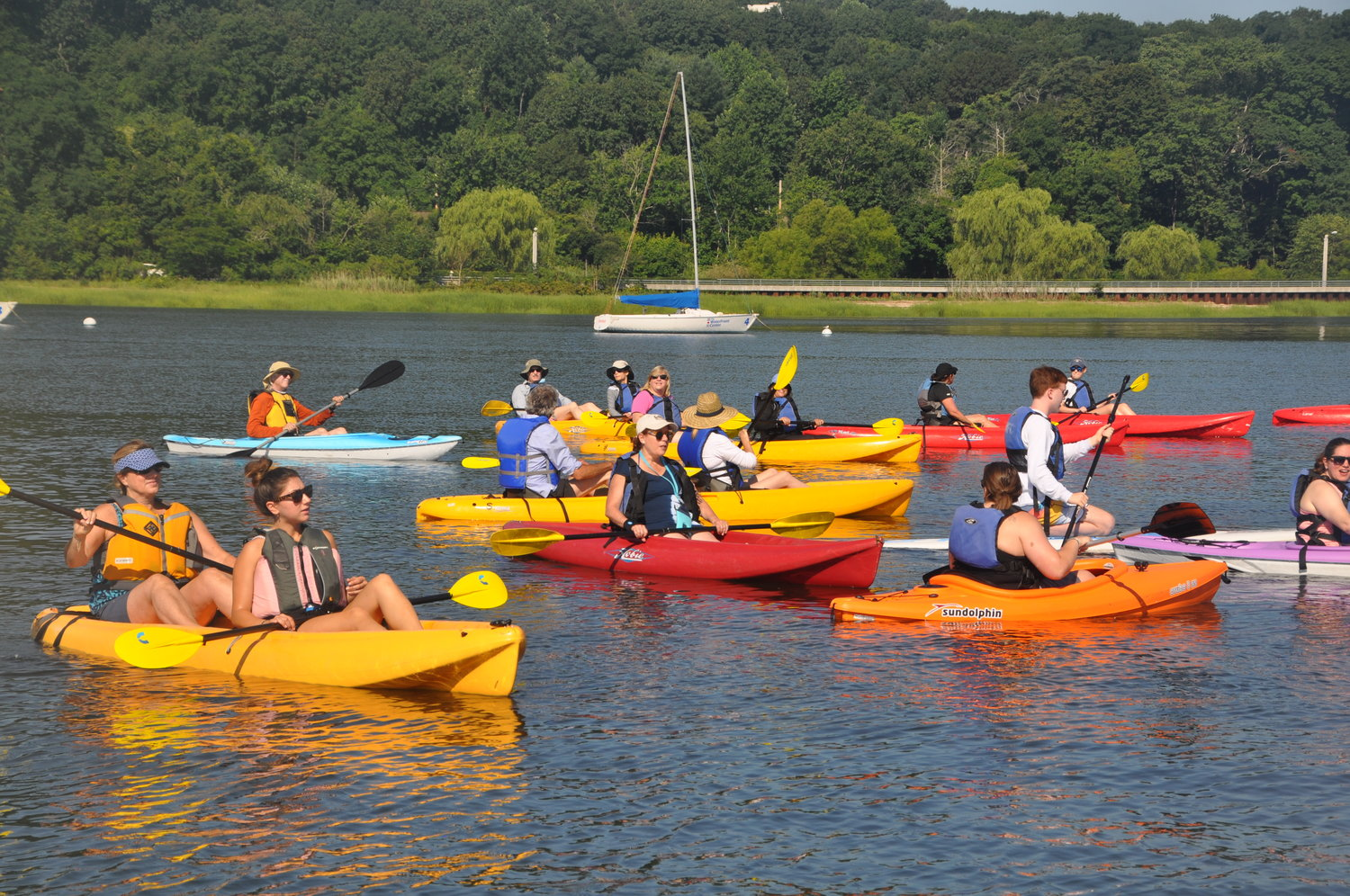 The kayakers and paddleboarders enjoyed a day out on the water.
